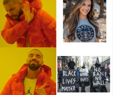 "A man scowling at a pretty white woman in a shirt that says, ""Basic Witch"". The same man smiling at a group of women dressed as witches at a Black Lives Matter protest."